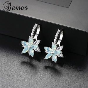 Jewelry - Blue Opal AAA CZ Flower Shape Stud Hoop Earrings
